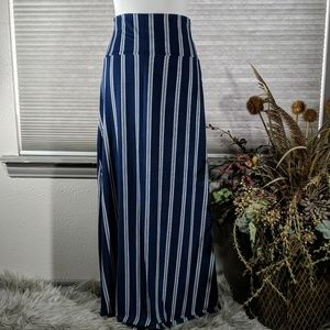 Navy and white stripe Maxi skirt